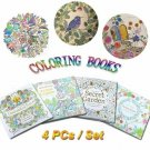 4 PCs Children Adult Coloring Books with 24 Colored Pencils
