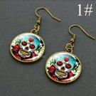 """Skull Dangle Earrings 1.90"""" Gold Plate"""