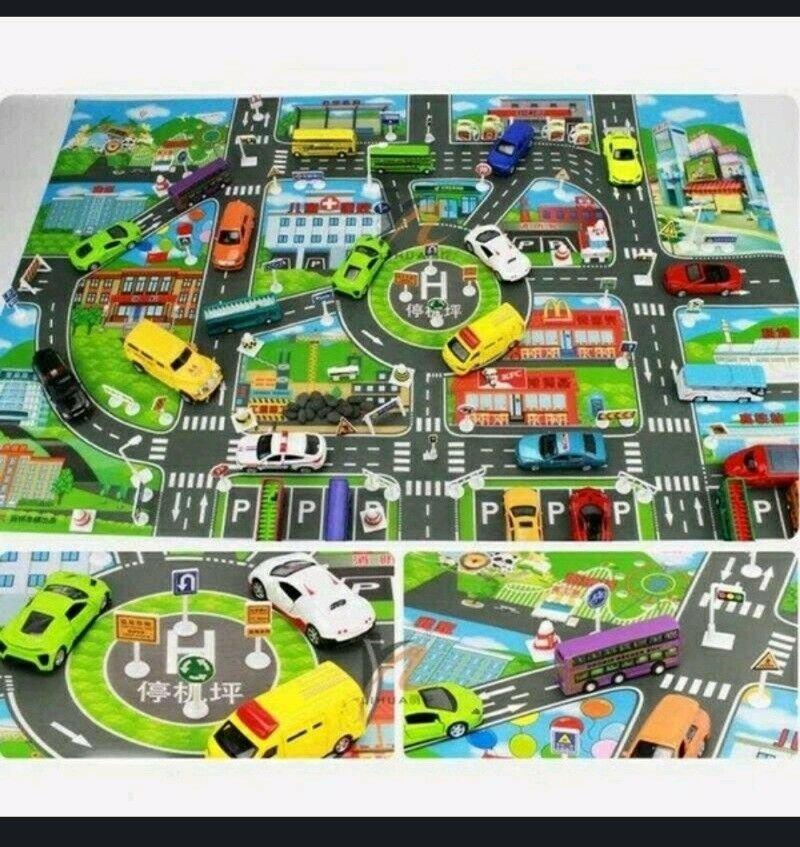 "Toy Car City Map Pretend Play  9"" x 13"""