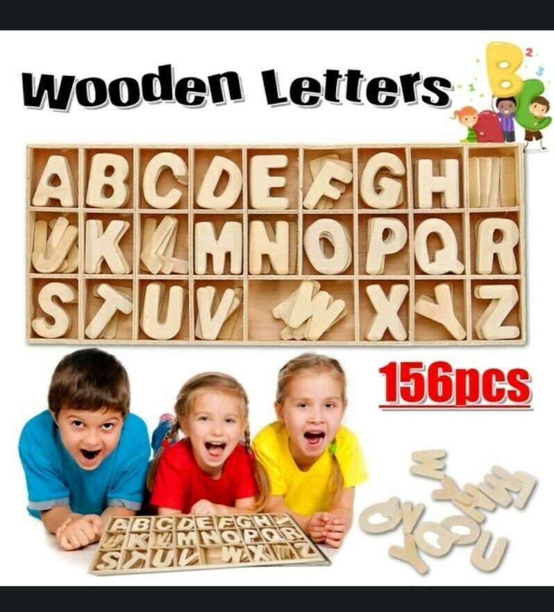 Wooden Alphabet Letter Set 156 Pcs 6 Pcs Each