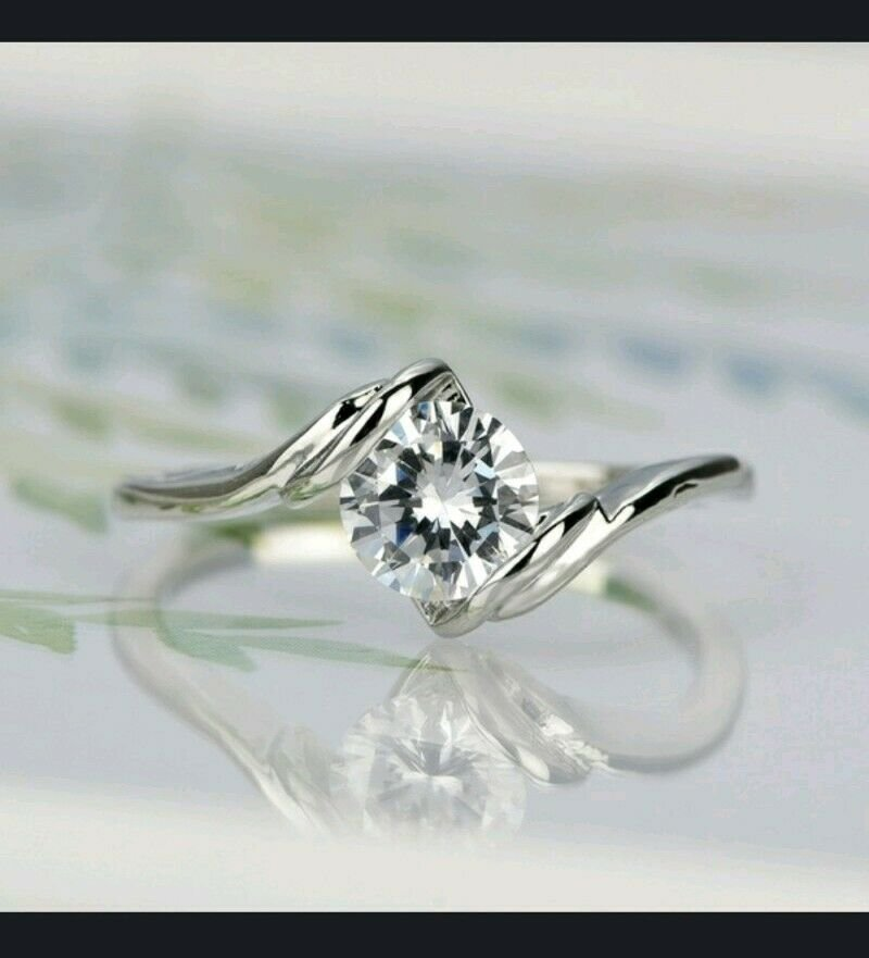 CZ Solitare Promise or Engagement Sterling Silver Filled Ring with Box 6-10