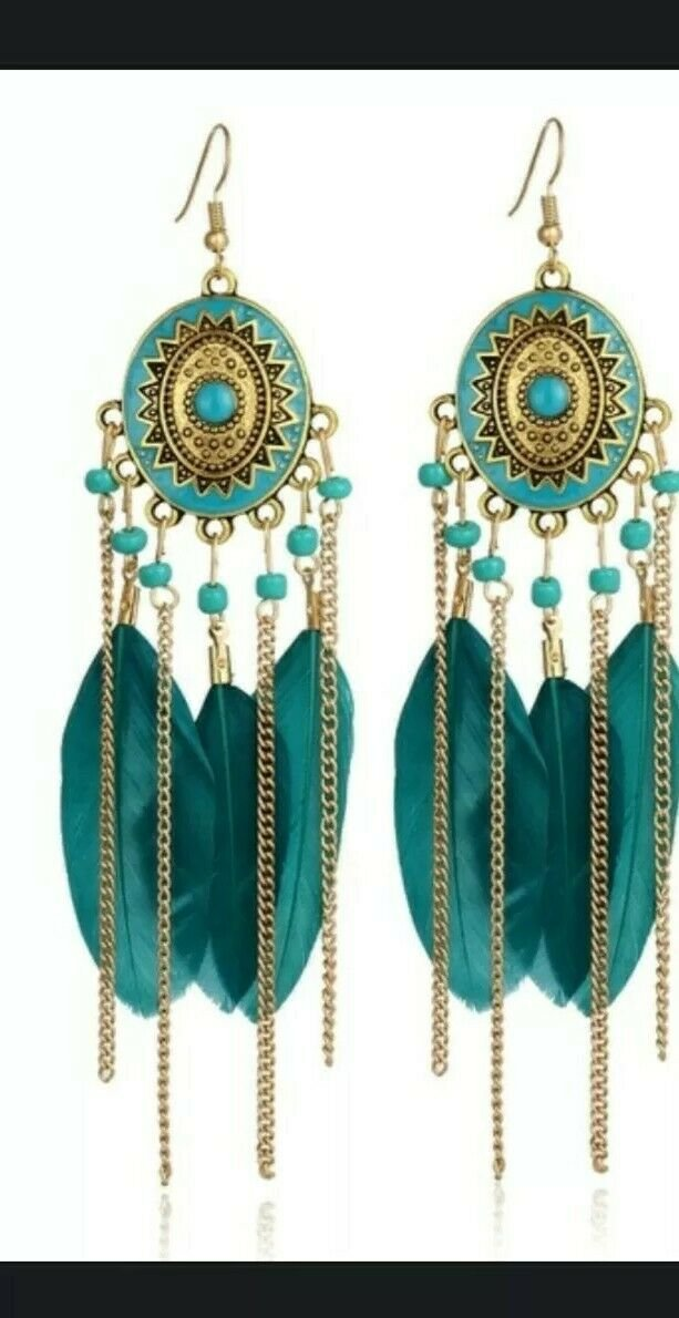 """Gold Plated Feather Acylic Dangle Earrings 5""""X1 1/2"""" Blue, Black, White, Multi"""
