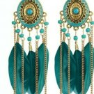 "Gold Plated Feather Acylic Dangle Earrings 5""X1 1/2"" Blue, Black, White, Multi"