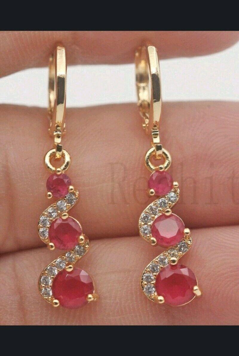 "Red, White, Green, Multi-Color  Rhinestone Dangle GP Earrings 1 1/3""X 1/3"""