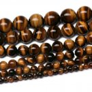 "4mm 6mm 8mm  Polished Tiger Eye Round Beads  15"" Strand"