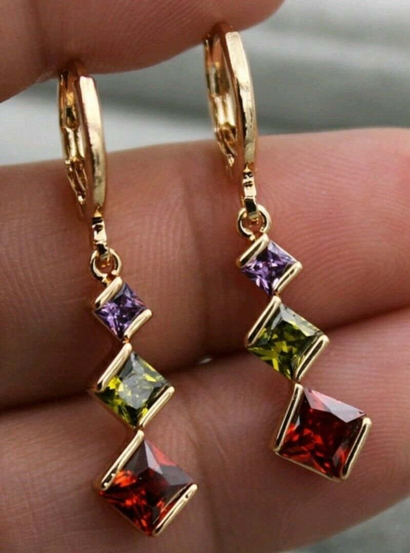 Amethyst, Peridot, Ruby CZ Dangle Leverback Earrimgs Gold Plate & Silver Plate