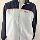 Womans Reebok Track Jacket front zip size L black/white red trim outdoors sport
