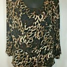 CHICOS Travelers Brown black Animal Print 2 Piece Jacket & Tank Top size 2