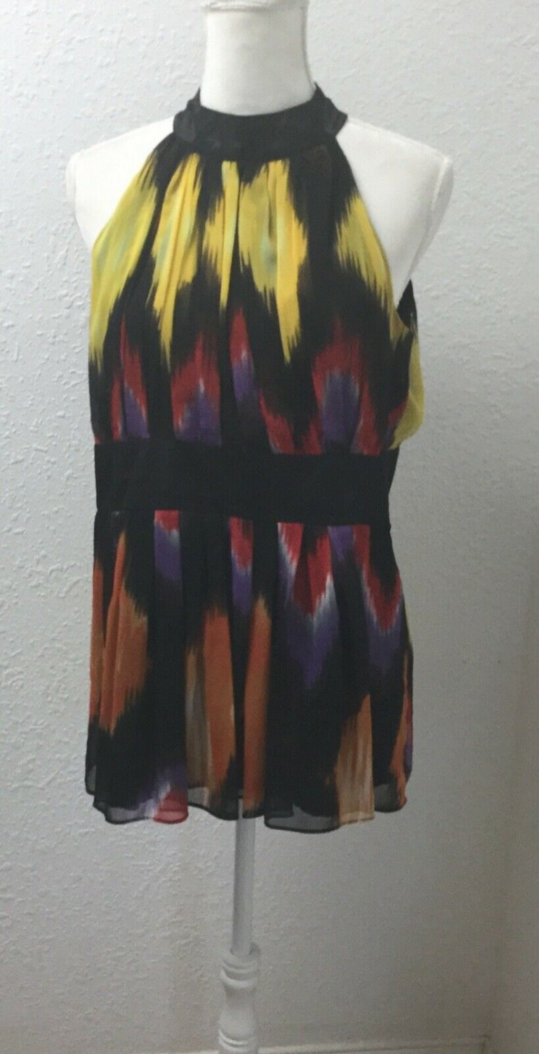 Kaelyn Max  Size XL Blouse Top sleeveless mandarin collar lined