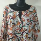 NWT Woman's Jaclyn Smith top blouse hibiscus floral size 1X/2X  new
