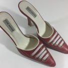 Womens STEVE MADDEN Mules slides Leather Size 8 Heels Shoes Red white Havoc
