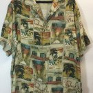 Tommy Bahama Casino Strip floral button brown down shirt size XL Silk Las Vegas