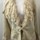Vintage Mix Nouveau New York Jacket blazer lace collar trim beige tan size XL