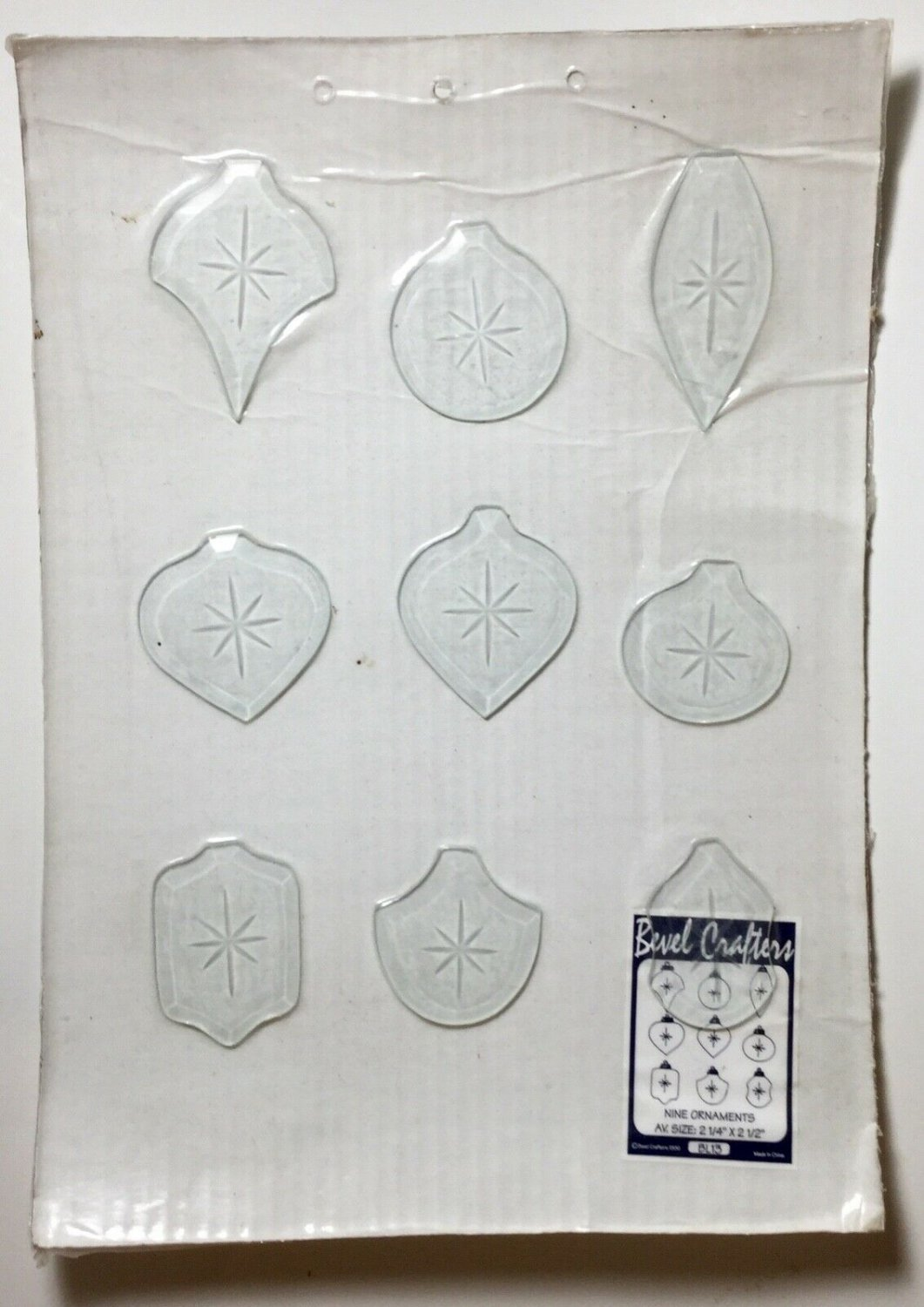 "Set of 9 clear glass ornaments  2 1/4"" x 2 1/2"" Bevel Crafters christmas NEW"