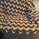 3 pc Hand Crochet Chevron Beige Brown Lap Blanket Afghan Throws arm rest