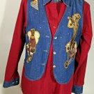 The Quacker Factory Denim Vest Red Blue Top Set Size S Teddy Bear US Flag Heart