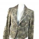 Women's BASS  Size 12 P Cotton Blazer Casual Spring Jacket Floral Beige Black