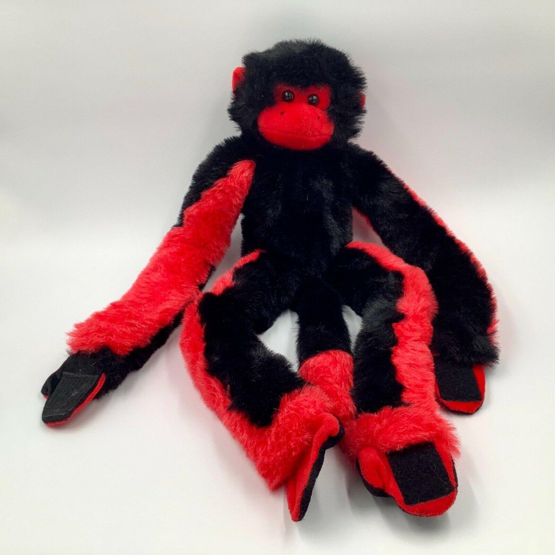 Fiesta Monkey Plush Stuffed Animal Black & Red Hook And Loop 27 inches