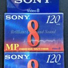 New 2 Sony 8mm MP 120 8mm Video P6-120mp NTSC Cassette Sealed