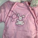 Baby Girl Snowsuit One Piece Pink 0-9 month Full Zip Car Seat Friendly Bon Bebe