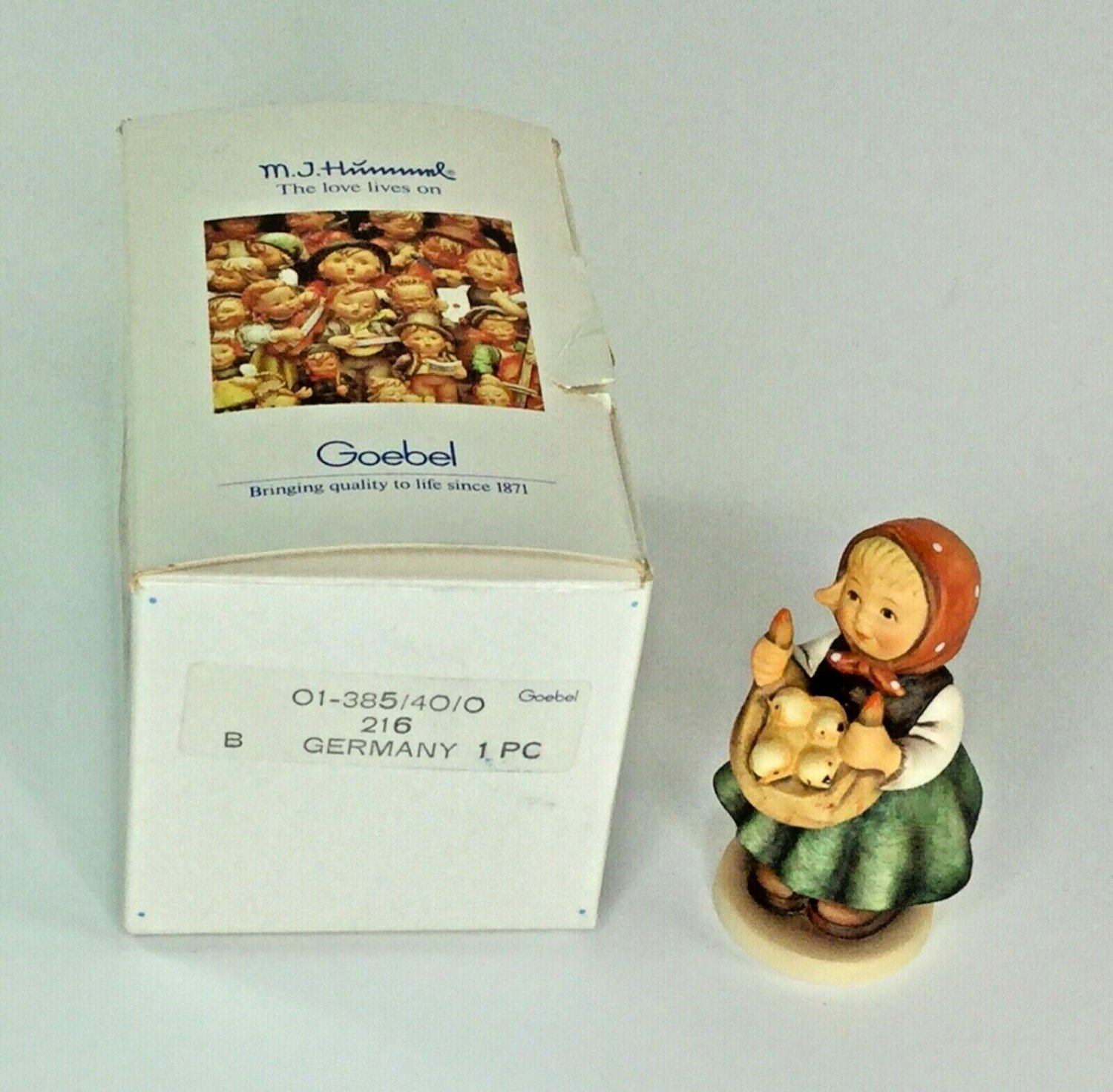 "Hummel Goebel 1987 Chicken Licken""Girl Holding Chicks 3"" tall first Issue TMK 7"
