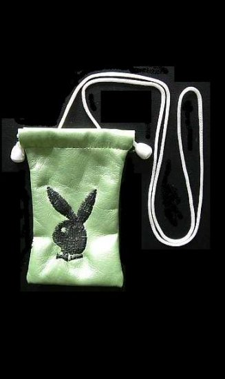 PLAYBOY BUNNY MOBILE PHONE BAG PURSE BLACK ON GOLD