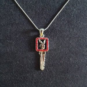 PLAYBOY BUNNY GIRL KEY PENDANT(RED) ON CHAIN WITH GIFT BOX