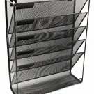 Easypag Mesh Wall Mounted File Holder Organizer Literature Rack 6 Compartments B
