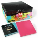 Arteza 3X3 Inches Sticky Notes, 24 Pads, 100 Sheets Per Pad, Bulk Pack, Assorted