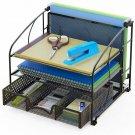 Simplehouseware Desk Organizer 3 Tray W/Sliding Drawer And Hanging File Holder,