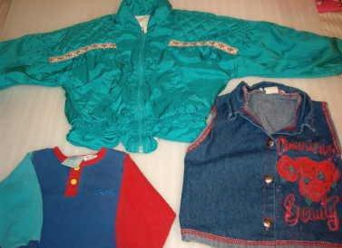 Little Girls Weather Tamer Jacket and CA Angel Denim Vest Shirt Sz 5 / 6