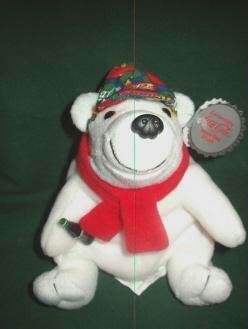 Coca-Cola Coke Beanie Bag Bear No. 0167 Checkered Cap and Scarf