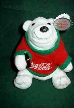 Coca-Cola Coke Beanie Bag Bear With Winter Sweater 0116