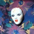 Gothic Flapper Face Mask Porcelain Diva Pin ~ Hand Painted - Pristine