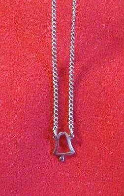 Holiday Bell Pendant on 15 inch Silver Tone Chain - Estate Find