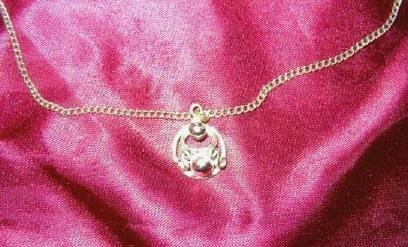 Door Knocker Charm on an 18 inch Silver Tone Necklace - Estate Find