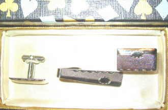 Cufflinks and Tie Clasp Set ~ Silver Tone ~ New in Box