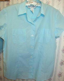 Jones Wear Sport Tiny Check Tailored Aqua Top Ladies Size 10 Med As New