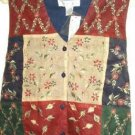 Chrysantheme Embroidered Linen Vest - New w Tag - Sz Medium $25 Retail