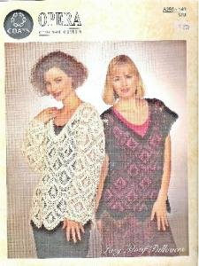 Coats Opera Crochet Lacy Open Weave Pullover Sweater Pattern Clean 1993