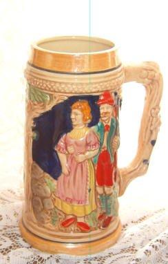 Beer Mug Stein Vintage Stamped Japan Lusterware European Scene of Couple