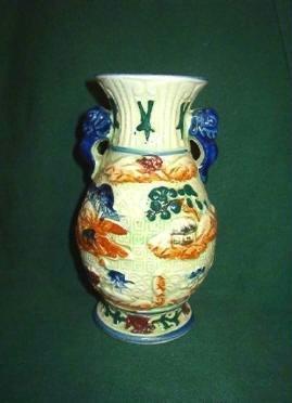 Raised Moriage Decoration 7 inch Vase ~ Vintage Pottery Marked Japan