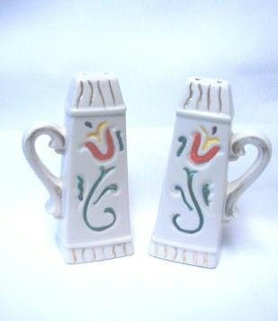 Tall Lily Motif Salt and Pepper Shakers Handpainted Vintage