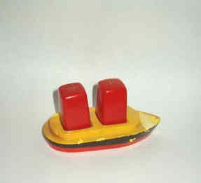 Red and White Salt n Pepper Set In A Yellow n Black Red Ship Vintage 1967