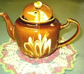 Chinese Teapot ~ Brown Swirl / Drip~ High Gloss _ Vintage