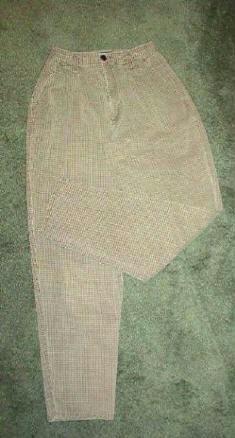 New York Style Brand Pants Brown n Khaki Ladies Sz 4 Small Check Pattern