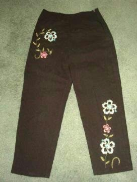 Crossing Pointe Black Crop Pants with Embroidery Ladies Sz 6 New wo Tag
