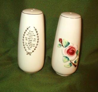Vtg Religious Prayer Salt / Pepper Shakers Rose Flower Christian Antique Old