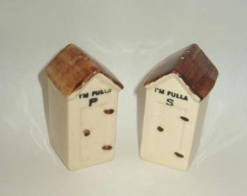 Outhouse Sheds I'm Fulla Salt and Pepper Set - Old Country Fun Handpainted