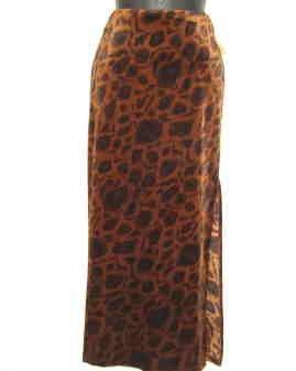 Tracy Evans Long Velour Skirt Black/Brown Print - New - Junior Sz 5